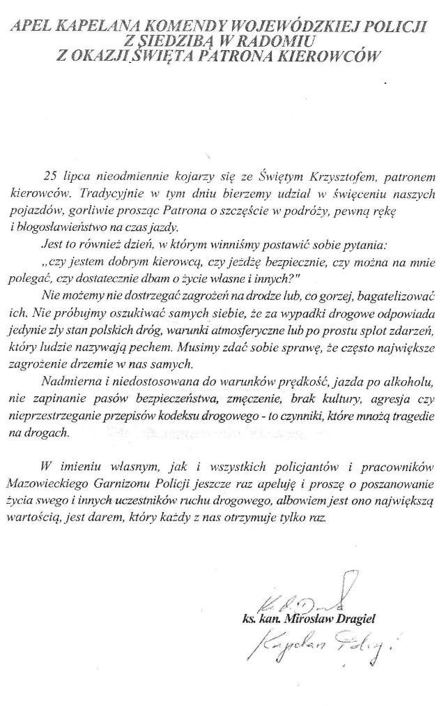 Archiwum Ciekawostki, kapelana policjantów okazji święta patrona kierowców - zdjęcie, fotografia