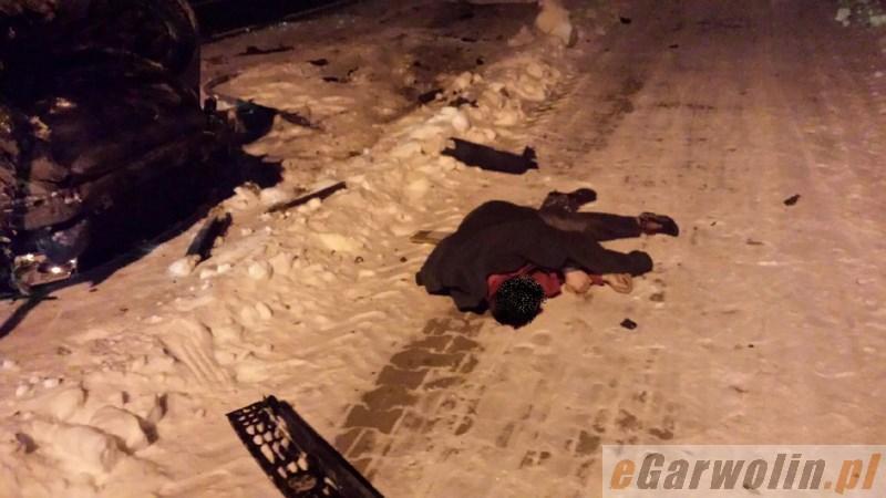 Archiwum Aktualności, Spowodował wypadek zasnął mrozie pijany - zdjęcie, fotografia
